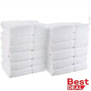 12 new white 100% cotton 10/s hotel hand towels 16x27 100% BEST DEAL  spa gym