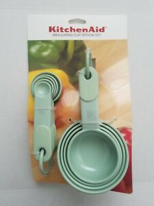 Genuine Kitchen Aid Pistachio Mint Green 4 Cup amp; 5 Spoon Measuring Set NEW