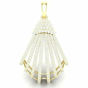 Natural 7ctw Round Cut Diamond 18k Gold Pendant Ladies Accented Designer F VS1