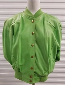 ESCADA Designer Green Lambskin Leather Jacket with Snap buttons Sz 38