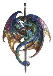 Fantasy Purple Green Dragon Wall Plaque Dragon Collection with Sword **