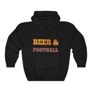 Beer and Football Hooded Sweatshirt Hoodie Black Size 4XL for Men or Women