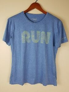 Brooks Womens Graphic T-Shirt Medium Running Blue Fitness Short Sleeve Run