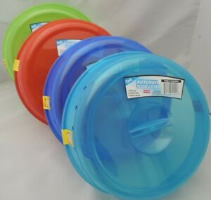 Two Plastic Microwave Plate Covers With Steam Vents Splatter Lid Color Food Dish