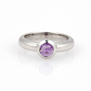 Tiffany & Co. France 18K White Gold Bullet Shape Amethyst Solitaire Ring