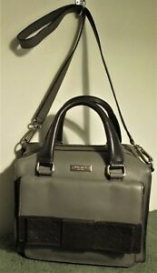 BIG BOW! Auth KATE SPADE New York GREY & BLACK Leather CROSS BODY Satchel BAG