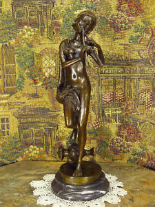 * Real Bronze Metal Art Statue Musician Playing Ancient Flute Auloi Greek Tibia