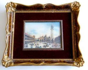Antique Signed Hand Painted Miniature Oil Painting Venice Italy St Marks Square $159.00