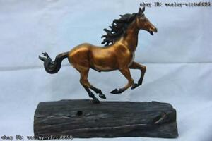 Brass Copper Carved Animal Successful Running Horse On Base wood Art Sculpture