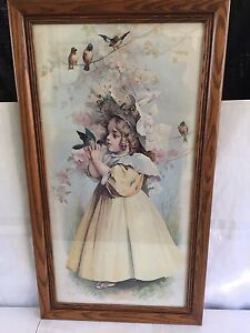 ANTIQUE THE LITTLE CAPTIVE MAUD HUMPHREY BOGART CHROMOLITHOGRAPH PRINT FRAMED $89.99