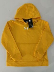 New Under Armour Youth Boys Coldgear Performance Hoodie Yellow Gold Small 7-8