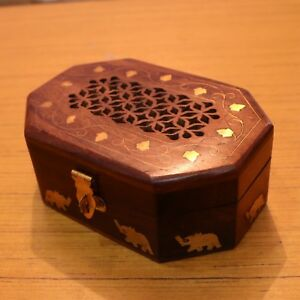 Antique Wooden Carving Box Jewelry Collectible Home Decorative Gift