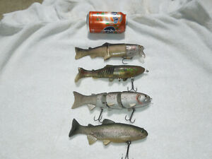 LOT of 4 RAINBOW TROUT Swimbaits Lures Large Mouth Bass  Striper Spro  Castaic