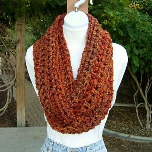 INFINITY SCARF LOOP COWL Rust Gold Brown Burnt Orange Thick Crochet Knit Circle $32.00