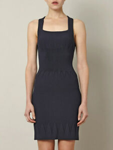 Alaia Honeycomb textured fitted dress square neck 40 NWT