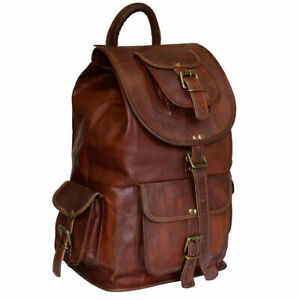 22 Inches Leather Large Backpack for Men Women Handmade Crossbody Bag