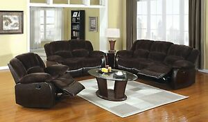 Winchester Sofa Loveseat Recliner Brown Champion Fabric Leatherette 3pc Set Home