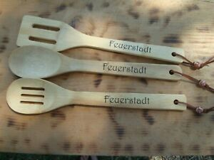 (3) Personalized Wooden SPATULA OR SPOON Hand Stamped wedding Housewarming