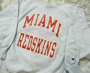 VTG Miami University Ohio Champion Reverse Weave Sweatshirt Redskins Fits Medium