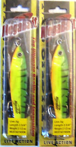 2 Mega-Bait Live Action Lures Fire Tiger 3 34 Inches 2.5 Ounces Mustad Hooks