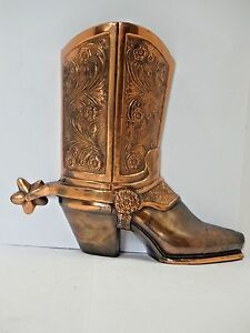 BRONZE WESTERN COWBOY BOOT wit SPUR WALL VASE SCULPTURE 8quot; Tall $299.99