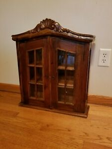 Vintage Wood Glass Doors - Solid Wall Mount Cabinet Shelf Display 24