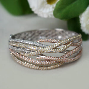14k Yellow Rose White Gold Diamond Pave Bangle Three Tone Design Fine Bracelet