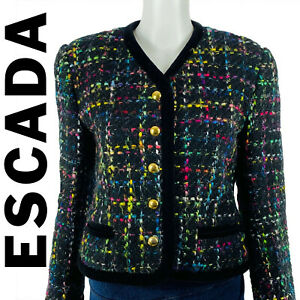 Escada Size 8 Jacket Magaretha Ley Wool Blend Boucle Velvet Trim Designer EU 38