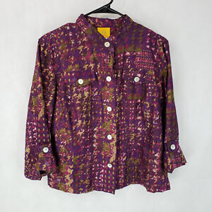 Ruby Rd. Womens 12 Top Purple Camo Burnout Button Shirt Jacket Roll-tab Sleeves