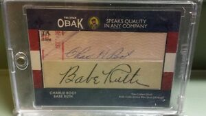 2011 TRI STAR OBAK BABE RUTH & CHARLIE ROOTS 11 AUTOGRAPH AUTO THE CALLED SHOT