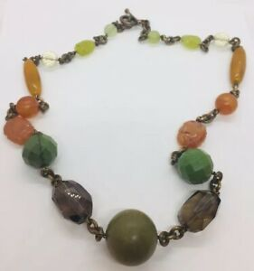 Stephen Dweck Vintage Bronze Chain Agate Turquoise Gem Bead Necklace