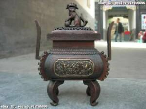 10 Chinese Red bronze Buddhism flower pattern Foo dog Lion incense burner censer