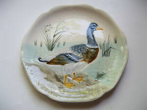 Antique French Majolica Duck Themed Plate