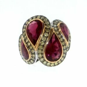 Pretty 13.00ct Ruby with Yellow Gemstones 925 Silver Engagement Wedding Ring