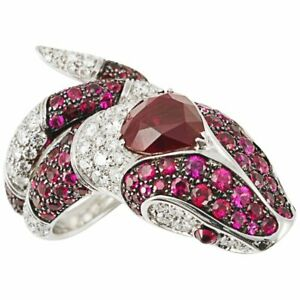 7.50CT Burma Ruby & 1.90CT White CZ Art Deco Pretty Snake 925 Silver Women Ring