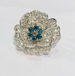 5.20 Carat White & Blue Gemstone Pretty Camellia Flower 925 Sterling Silver Ring