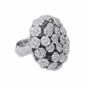 Palmiero 18K White Gold Diamonds Queen Anne's Lace Ring Max SZ 7.25 Resizable