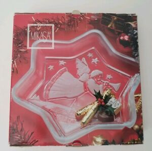 Mikasa Christmas Star Angel Sweet Dish 9.25 Plate Clear Frosted Glass Germany