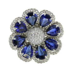 Pretty 925 Real Silver 6.00 Carat Sapphire and Diamond Flower Anniversary Ring