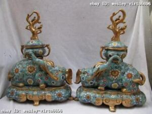 Regius Palace 100% Pure Bronze cloisonne Elephant Zun God Censer incense burner