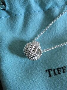 $160 Tiffany & Co Sterling Silver 925 Twist Knot Pendant on 16