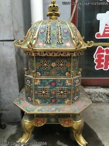Chinese Royal Bronze Cloisonne Elephant Foo Dog Lion Tower Incense Burner Censer