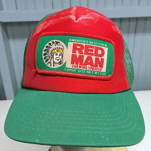 VTG Red Man Chewing Tobacco OLD Rare Color Snapback Baseball Cap Hat Wadsworth