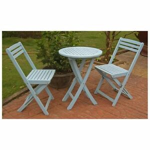 Acacia Wood 3-Piece Sky Blue Folding Patio Bistro Set Outdoor Weather Resistant