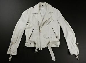 HELMUT LANG Mens Vintage Bondage Cream Motorcycle Leather Jacket EU 46 ITALY