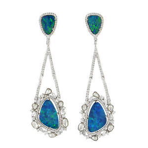 18K Solid Gold 3.64Ct Pave Diamond Doublet Opal Dangle Earrings Designer Jewelry