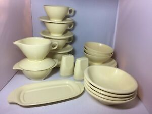 Vintage Melamine Dishes 42 Piece Plates Coffee Cups Bowls Yellow Used Camping RV