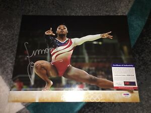 Simone Biles Signed 11x14 Photo Rio Olympics Gold Medals Final 5 PSADNA
