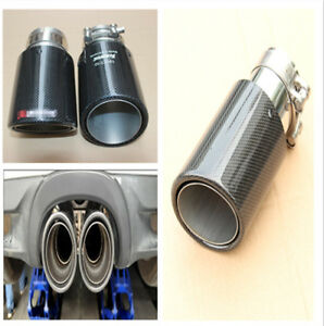 Durable Gloss Carbon Fiber 63MM IN-89MM OUT Universal Car End Muffler Tip