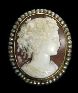 WONDERFUL VICTORIAN ERA 14K GOLD & NATURAL PEARL CAMEO BROOCH